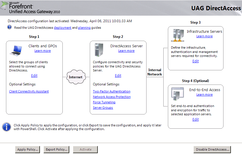 UAG DirectAccess Wizard